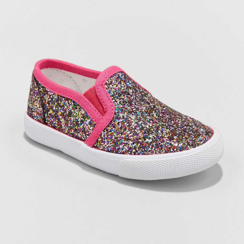 Toddler Girls' Madigan Slip on Glitter Sneakers with Glitter - Cat & Jack 12, Multicolored