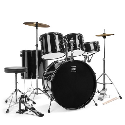 Best Choice Products 5-Piece Beginner Drum Set w/ Snare, Bass, Toms, Cymbal, Hi-Hat, Sticks, Chair, Drum Pedal - Black