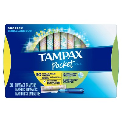 Tampax Pocket Pearl Regular/Super Absorbency With LeakGuard Braid, Duopack & Unscented Plastic Tampons - 30ct : Target