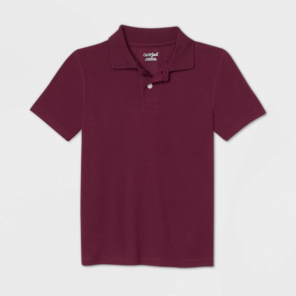 Boys Short Sleeve Performance Uniform Polo Shirt - Cat & Jack Burgundy L Red