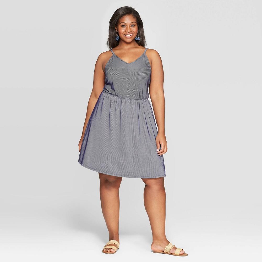 Women's Plus Size Sleeveless V-Neck Knit Dress - Universal Thread Indigo 3X, Blue