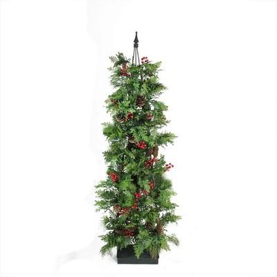 Allstate Floral 5' Unlit Artificial Christmas Tree Slim Mixed Profile Entryway Cedar Pine