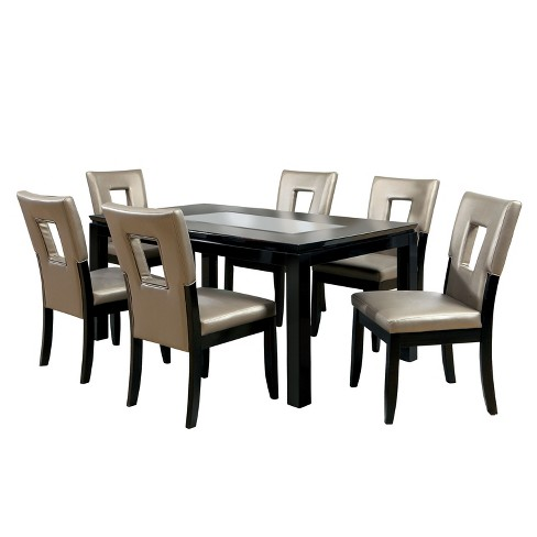 super popular f7e81 23763 7pc Brunston Glass Insert Table Top Dining Table Set Black - ioHOMES