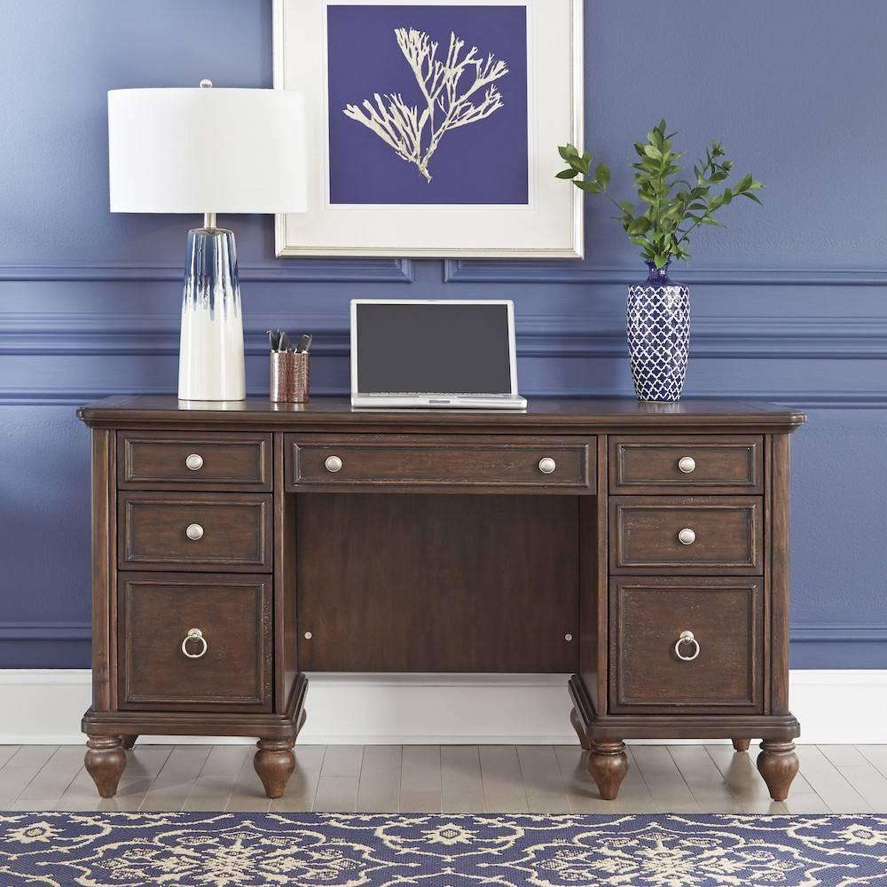 Image of Southport Pedestal Desk Dark Aged Oak - Home Styles, Brown