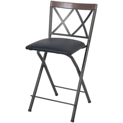 "24"" Folding Metal Counter Height Barstool Gunmetal - Cheyenne Products"