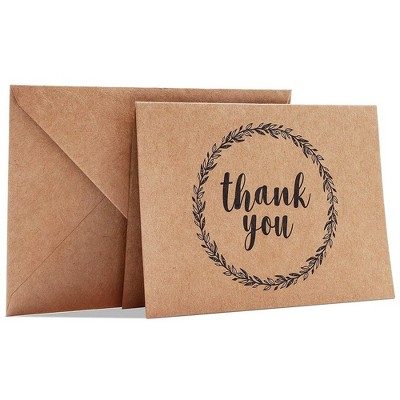 Best Paper Greetings 120-Count Thank You Cards with Envelopes, Mini Brown Kraft Note Cards, for Graduation Wedding Party Baby and Bridal Shower