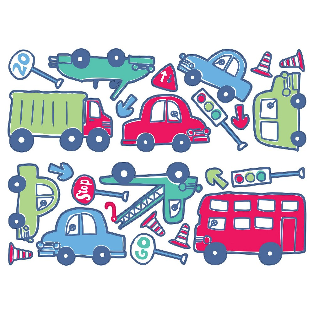 Image of Fun4Walls Beep Beep Wall Stickers - Red/Blue, Blue Red