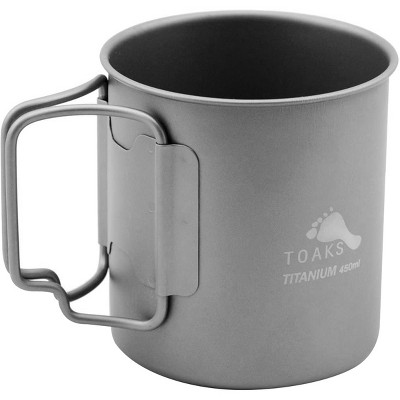 TOAKS Ultralight Portable Titanium Camping Mug with Folding Handles - 450ml
