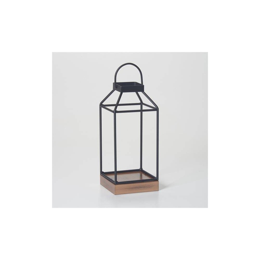 "Image of ""10"""" Mallory Metal Outdoor Lantern with No Glass Black - Smart Living"""
