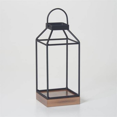 """10"""" Mallory Metal Outdoor Lantern with No Glass Black - Smart Living - image 1 of 4"""