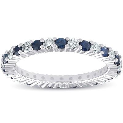 Pompeii3 1 cttw Blue Sapphire Diamond Wedding Eternity Ring 14k White Gold