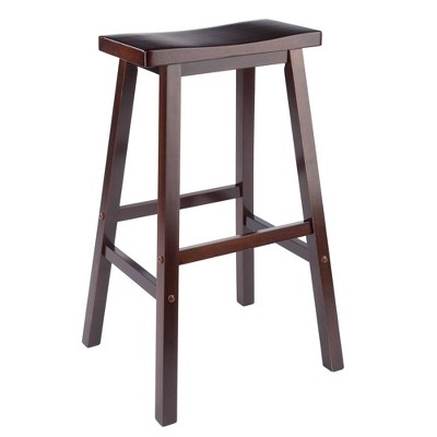 "29"" Satori Saddle Seat Barstool - Antique Walnut - Winsome"