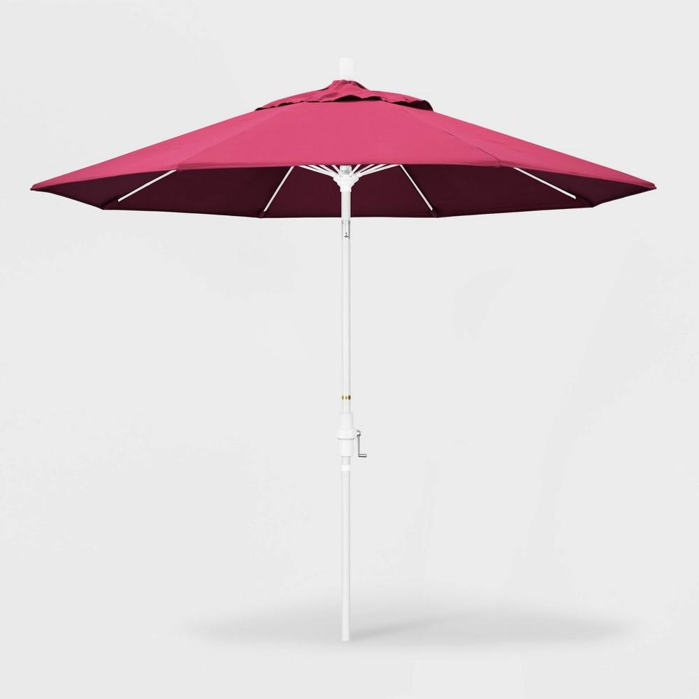 9' Sun Master Patio Umbrella Collar Tilt Crank Lift - Sunbrella Hot Pink - California Umbrella