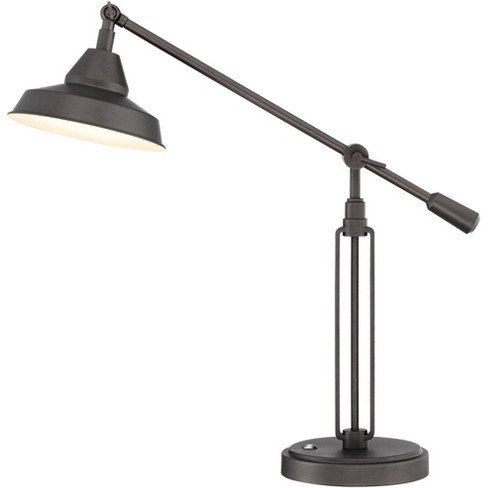 Franklin Iron Works Industrial Desk Lamp with Hotel Style USB Charging Port LED Adjustable Oil Rubbed Bronze Metal Shade for Office Table - image 1 of 4