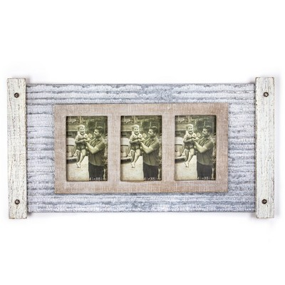 Metal And Wood 3 Photo Picture Frame - E2 Concepts