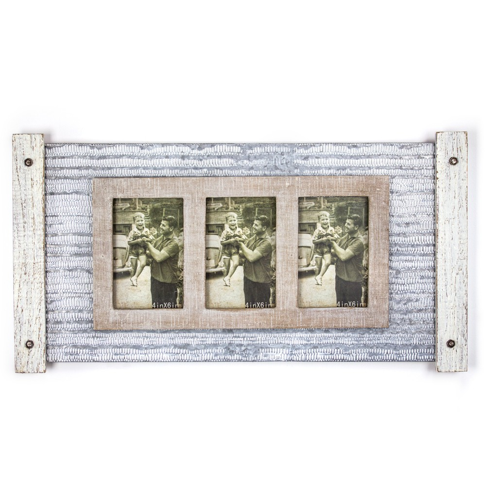 Image of Metal And Wood 3 Photo Picture Frame - E2 Concepts, Multi-Colored