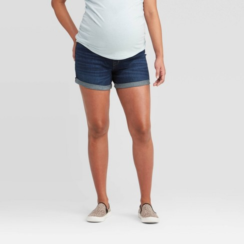 Maternity Crossover Panel Midi Jean Shorts - Isabel Maternity by Ingrid & Isabel™ Blue  - image 1 of 4