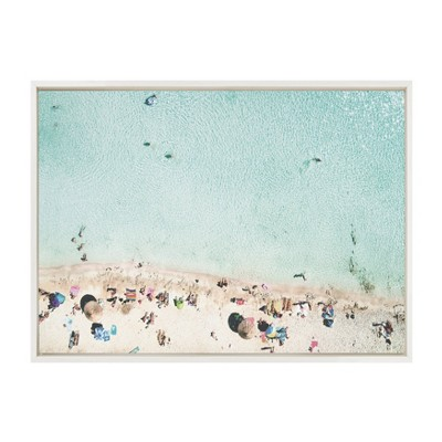 """23"""" x 33"""" Sylvie Beach From Above Framed Canvas by Amy Peterson White - DesignOvation"""