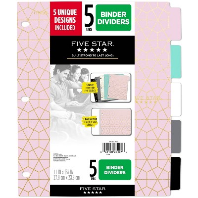 Five Star 5ct Geometric Binder Dividers by Five Star
