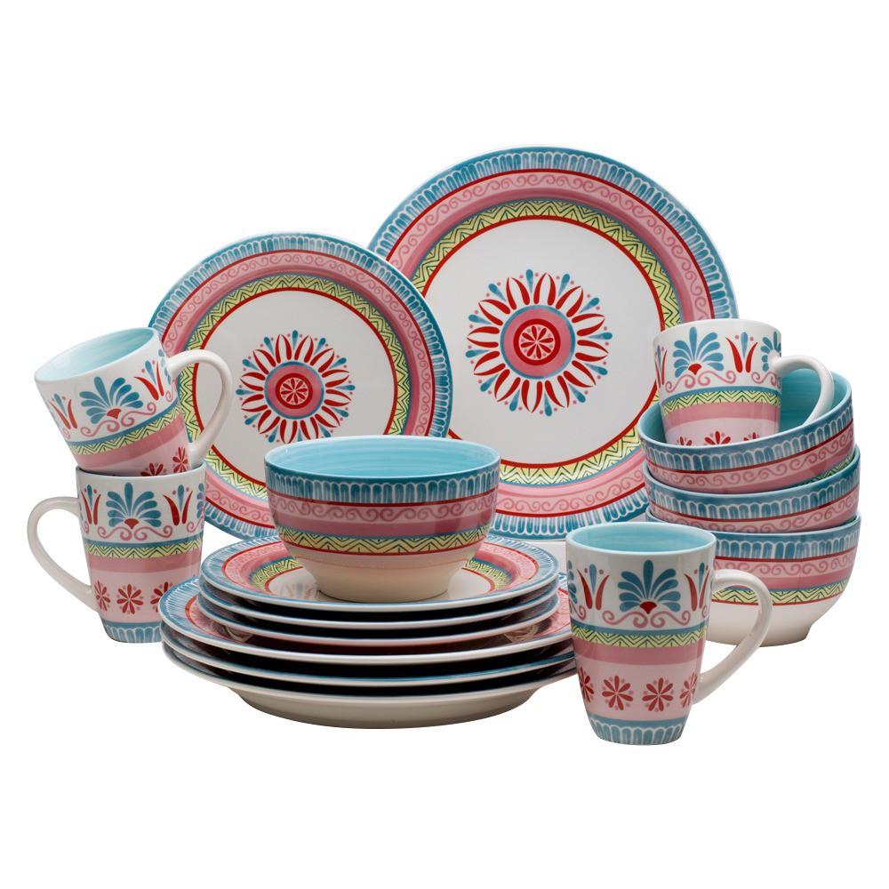 Image of Euro Ceramica Merille 16pc Dinnerware Set, Multi-Colored