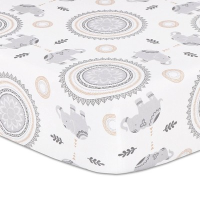 The Peanutshell Boho Fitted Sheet Elephant and Medallion Print