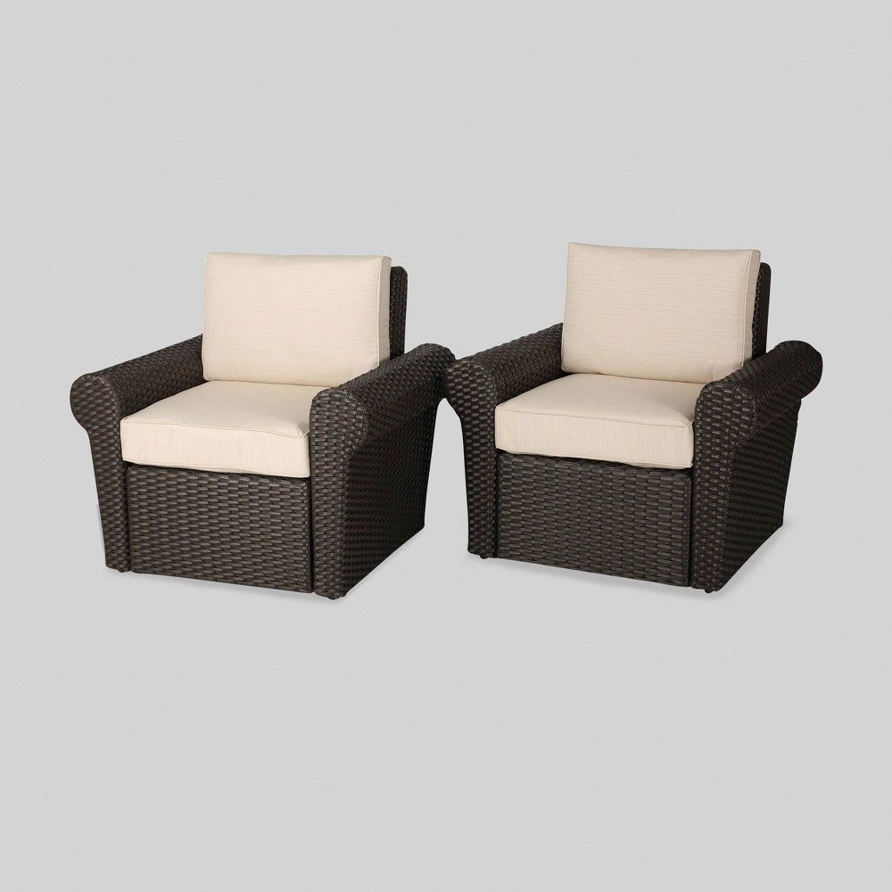 Amaya 2pk Wicker Patio Club Chair - Brown - Christopher Knight Home