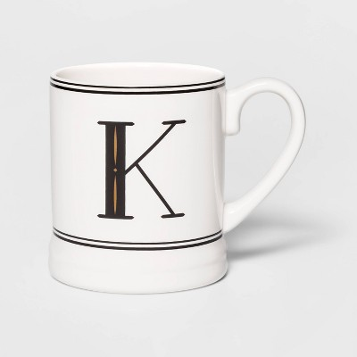 16oz Stoneware Monogram Mug Cream K - Threshold™