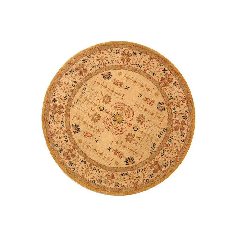 Sand (Brown) Floral Tufted Round Area Rug 6' - Safavieh