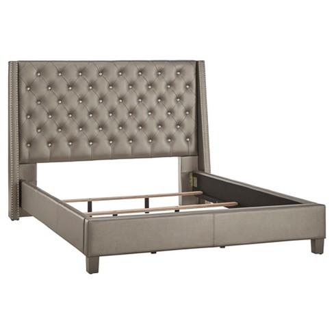 ea9e179d52d5 Rosalyn Crystal Tufted Wingback Bed - King - Metallic Gray - Inspire ...