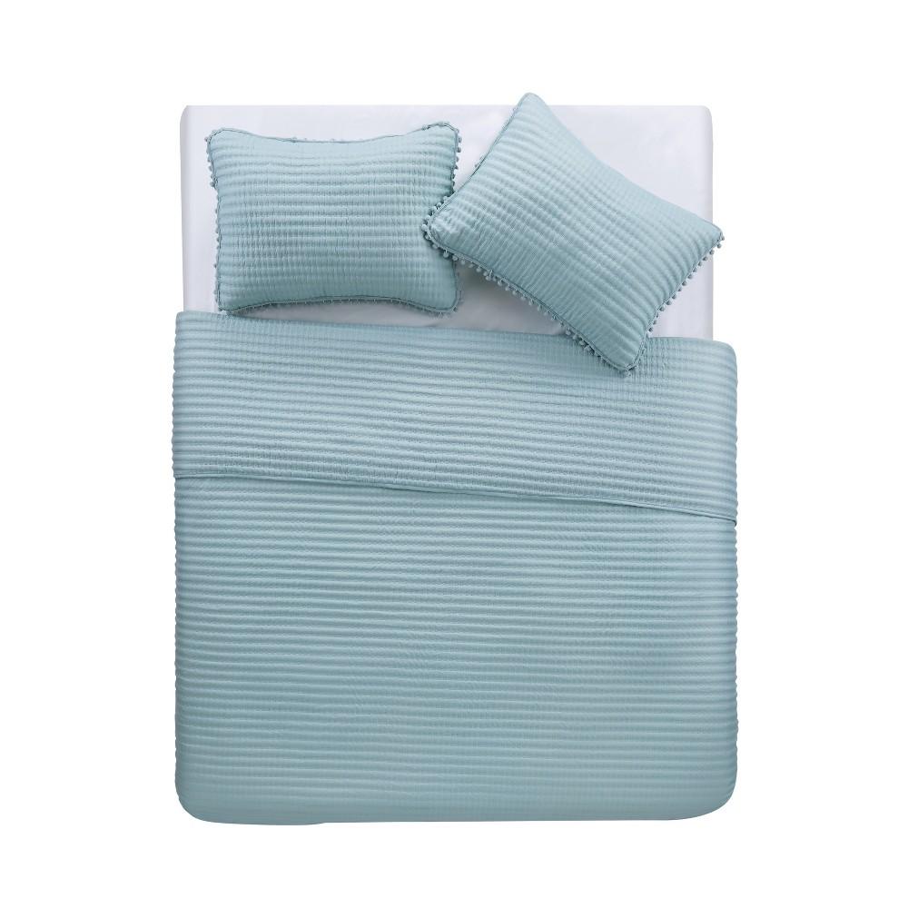 Twin XL 2pc Pom Pom Quilt Set Aqua (Blue) - Vcny Home