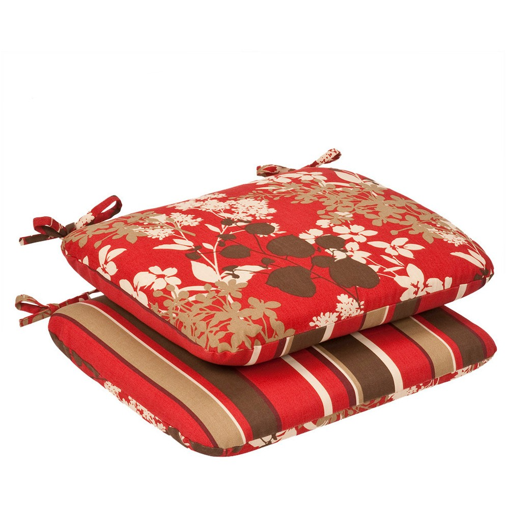2-Piece Outdoor Reversible Seat Pad/Dining/Bistro Chair Cushion Set - Brown/Red Floral/Stripe