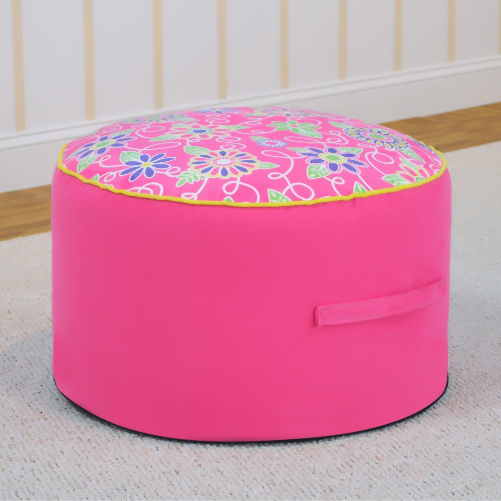 Round Foam Ottoman With Handle - Daisy Doodle With Passion Pink And Sunshine Yellow - Kangaroo Trading Co.