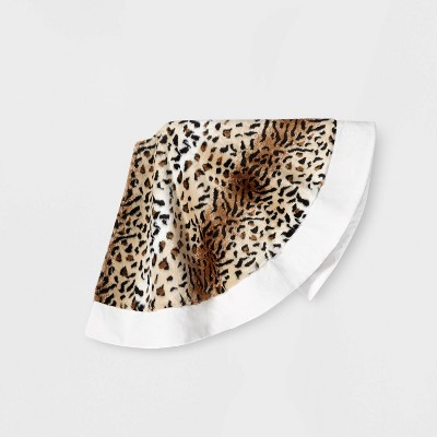 Leopard Print with White Cuff Tree Skirt Brown - Wondershop™