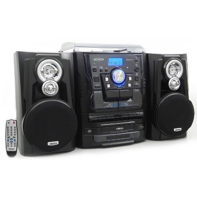 JENSEN 3-Speed Stereo Turntable with Bluetooth, Pitch Control, 3 CD Changer, AM/FM Music System with MP3, Dual Cassette Deck, Aux-in (JMC-1250)