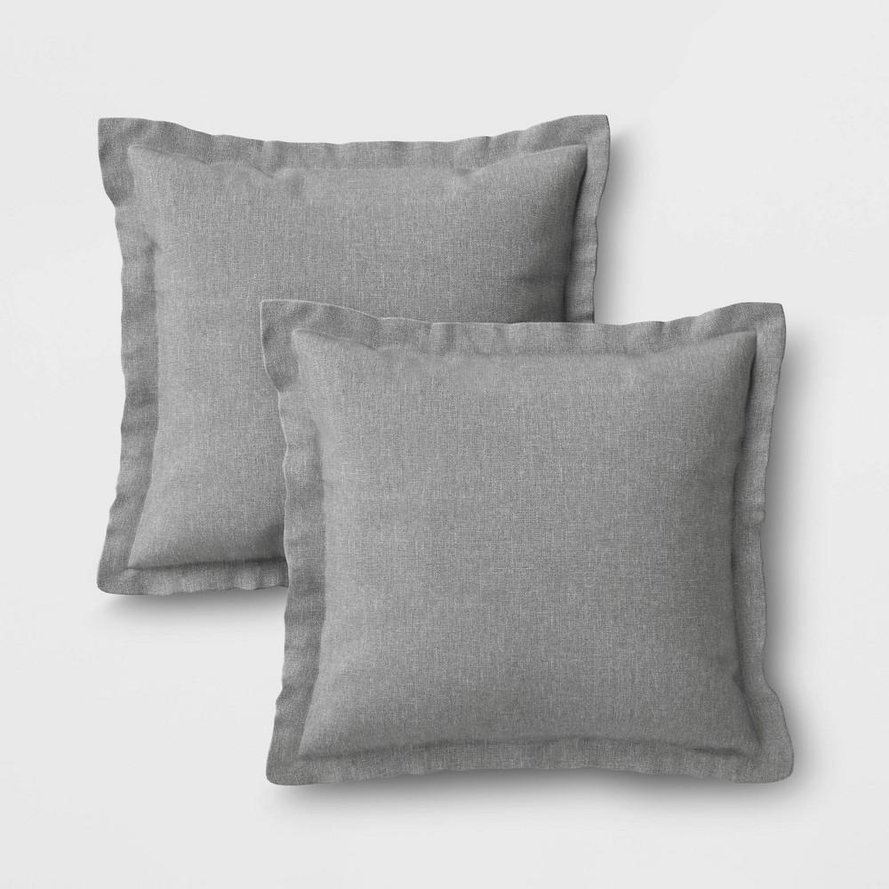 Image of 2pk Outdoor Throw Pillows DuraSeason Fabric Gray - Threshold