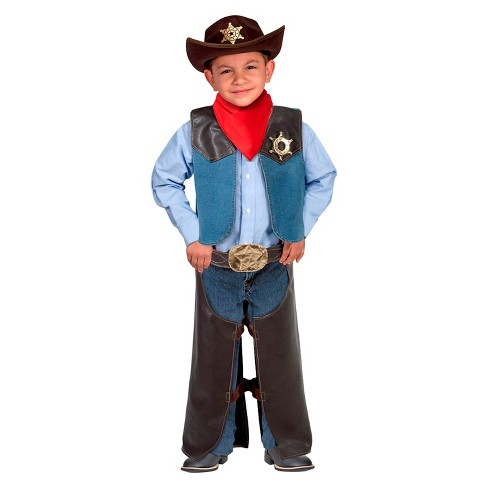 Melissa & Doug® Cowboy Role Play Costume Set (5pc) - Includes Faux Leather Chaps - image 1 of 2