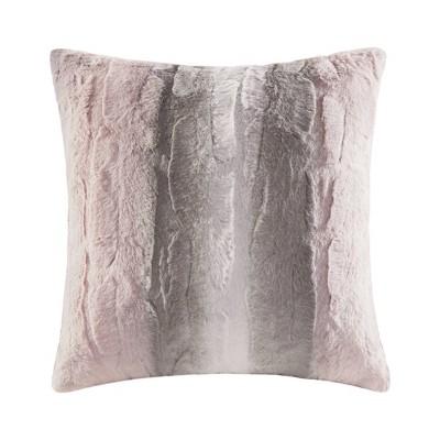 Marselle Faux Fur Square Pillow Blush/Gray