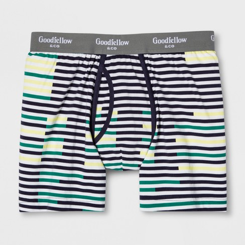 Men's Striped Boxer Briefs - Goodfellow & Co™ Green - image 1 of 1