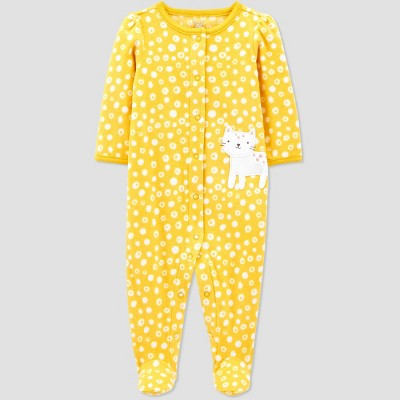 Baby Girls' Cat Fleece One Piece Pajama - Just One You® made by carter's Yellow Newborn