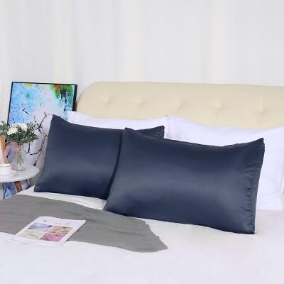 "4 Pcs Queen 20""x30"" Silk Satin Luxury Cooling Pillowcase Navy  - PiccoCasa"