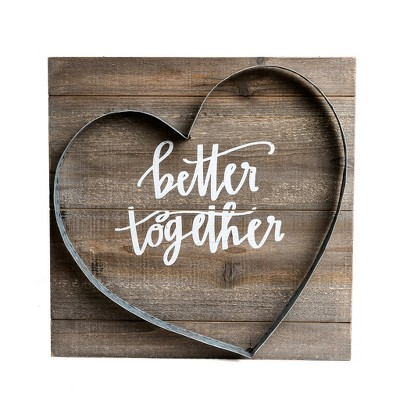 16 x16  Better Together Metal and Wood Plank Wall Art Brown - Patton Wall Decor
