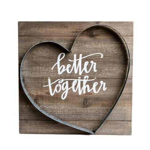 16 X16 Better Together Metal And Wood Plank Wall Art Brown Patton Wall Decor