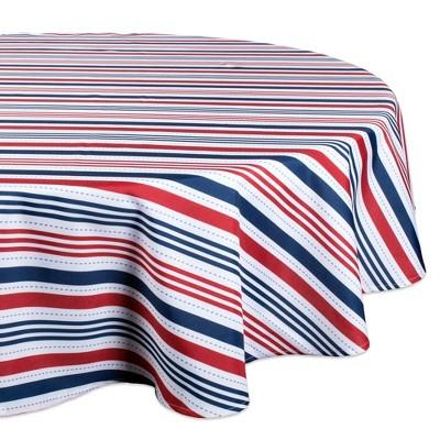 "60""R Patriotic Stripe Tablecloth Blue/Red - Design Imports"