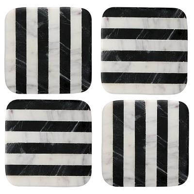 Thirstystone Marble Coasters Set of 4 - Black/White