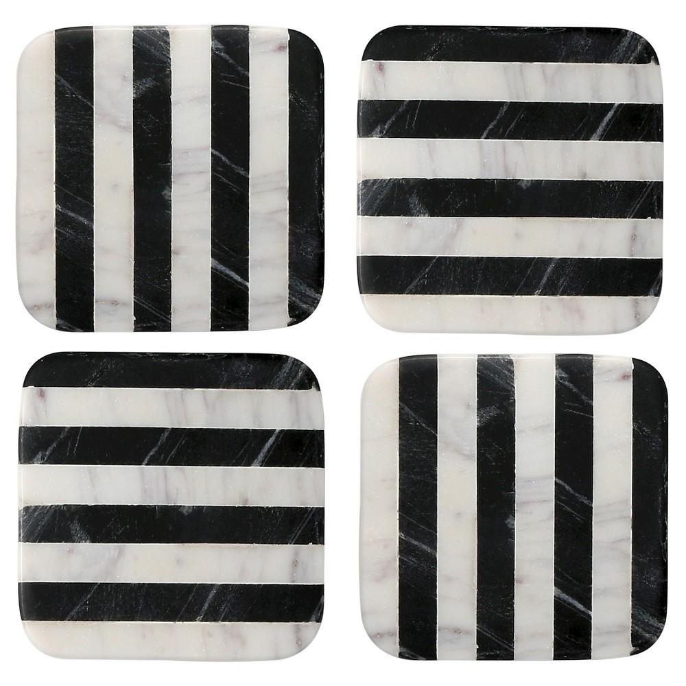 Image of Thirstystone Marble Coasters Set of 4 - Black/White