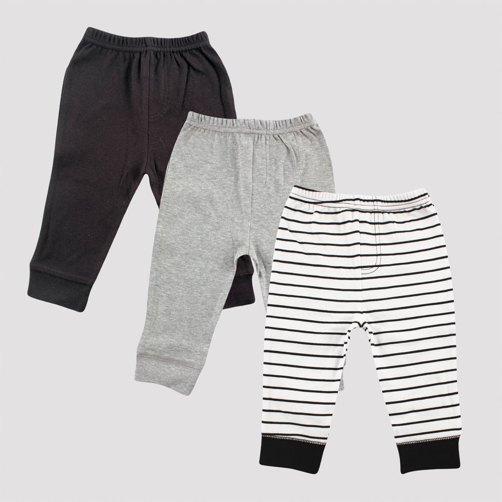 Image of Luvable Friends Baby 3pk Stripped Tapered Ankle Pull-On Pants - Black/Gray 12M, Kids Unisex
