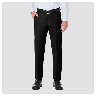 Haggar H26 Men's Performance 4 Way Stretch Straight Fit Trouser Pants - Black 36x30