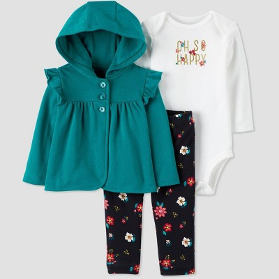 Baby Girls' 3pc Floral South Cardigan Top & Bottom Set - Just One You® made by carter's Teal/White/Black Newborn