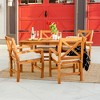 5pc Acacia Wood Simple Patio Dining Set with X-Shaped Back Brown - Saracina Home - image 3 of 3