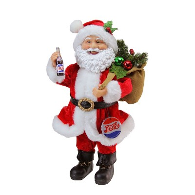 """Northlight 12"""" Red and White Santa Claus with Gift Sack Christmas Figurine"""